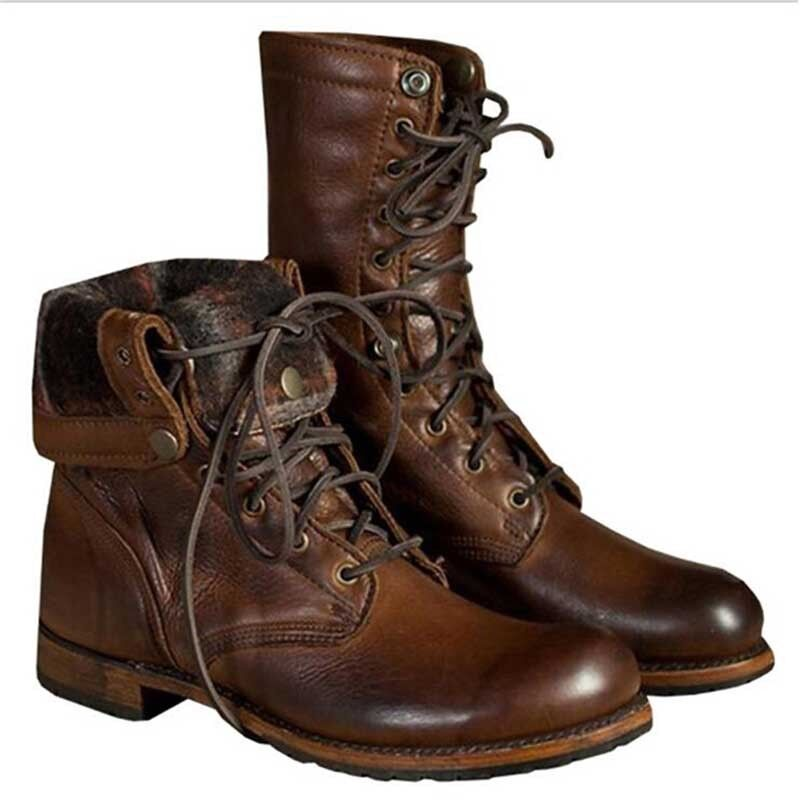 Mens Punk Rock Leather Motorcycle Boots Lace up Military Combat Boots Shoes Ne1