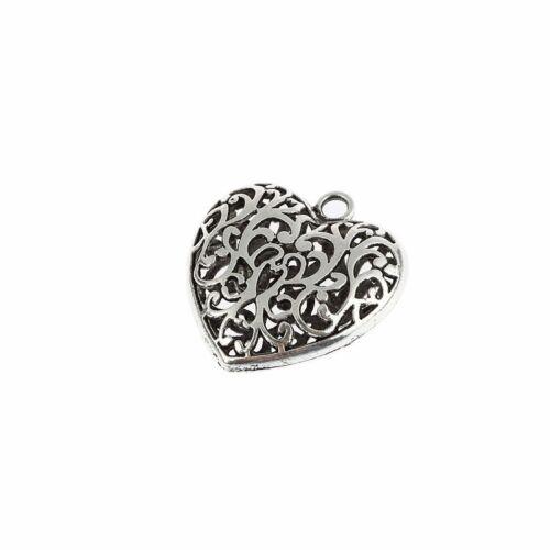 Heart Beads Antique Tibetan Silver Charms Pendant DIY Bracelet 1pcs 35*32mm