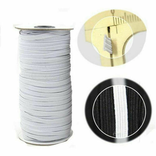 "White  Sewing Trim String DIY 100 Yards Flat Braided Elastic Band 1//4/"" 6mm"