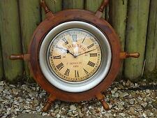 Ships wheel Large Clock 24 Inches across Wheel- maritime  Nice Size