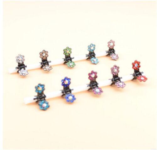 12Pcs Hot Girls Hair Clips Sweet Rhinestone Crystal Flower Mini Kids Accessories
