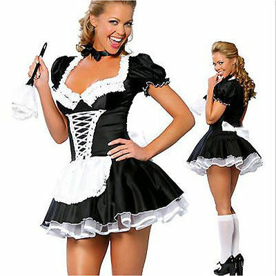 Halloween Naughty French Maid Costume Lolita Fancy Hen Party Dress Plus M-2X
