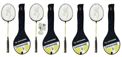 4 x Browning Nano-lite Badminton rackets with covers 3 shuttles RRP £159.99