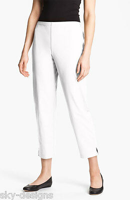 Eileen Fisher White Organic Stretch Cotton Slim Ankle Pants Side Zip New 3X $168