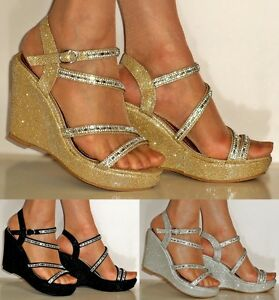 98df1a3e9ad Details about NEW DIAMANTE SILVER GOLD BLACK WEDGE MID HEEL EVENING BRIDAL  SANDALS SIZE- 267