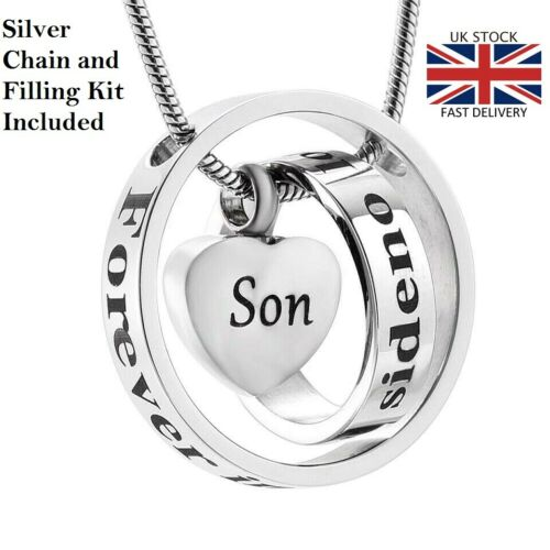 Son Heart Cremation Urn Pendant Ashes Necklace Funeral Memorial Jewellery
