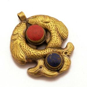 Two-Fish-Pendant-Nepal-Tibetan-Buddhist-Good-Luck-Handmade-Antique-Gold-PD481