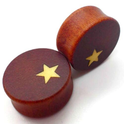 12mm-30mm oreja Plug túnel madera estrella estrellas piercing pendientes Wood Saddle Star