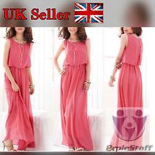 Fashion Women Bohemian Pleated Wave Lace Strap Princess Chiffon Long dress Red