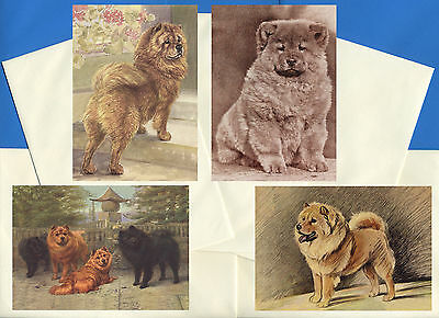 CHOW CHOW PACK OF 4 VINTAGE STYLE DOG PRINT GREETINGS NOTE CARDS