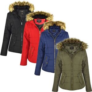 New-Womens-Ladies-Quilted-Designer-Padded-Bubble-Fur-Hooded-Puffer-Coat-Jacket