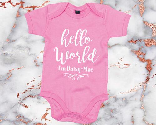 Bonjour World Je Suis Tout Nom Personnalisé Babygrow Veste nouveau-né nom Annonce Bébé AS3