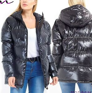 NEW-Womens-LADIES-PARKA-JACKET-METALLIC-BLACK-SHINE-PUFFER-WINTER-COAT-Size-8-16