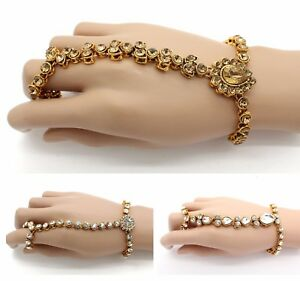 Image Is Loading Diamante Kundan Stones Hand Chain Panja Ring Bracelet