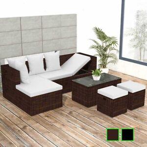 Vidaxl Patio Outdoor Wicker Rattan Sofa Stool Table Garden Lounge