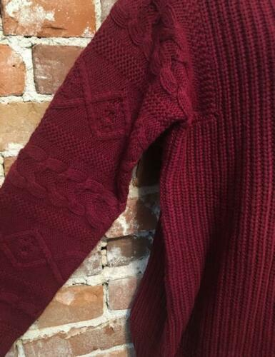 Martha Stewart Cabernet Red Rib Mock Neck Cable Knit Slv Tunic Sweater Ski New