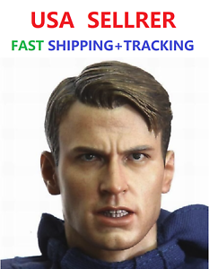 """Custom 1//6 Chris Evan Captain America 6.0 HEAD SCULPT FOR 12/"""" Figurine PHICEN"""