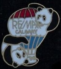 RE/MAX Calgary Balloon Pin Badge ~ vintage 1988 ~ Panda Bear ~ ReMax~non Olympic