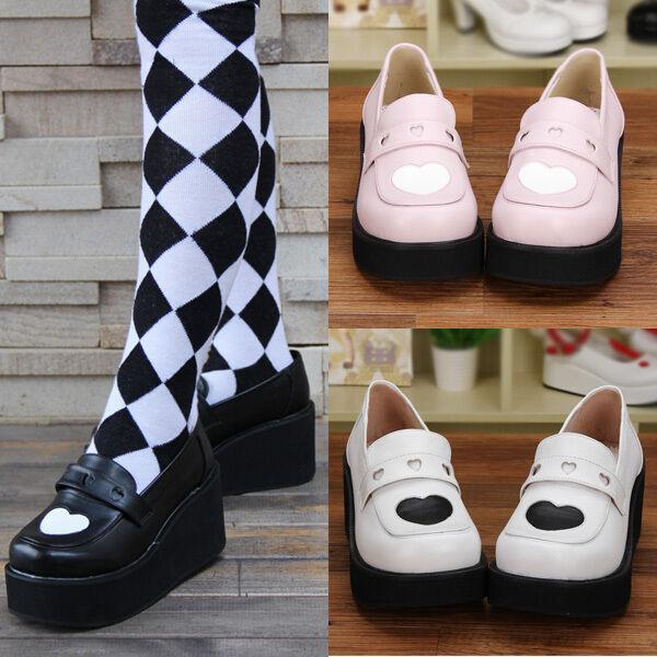Gothic Lolita Punk Herz Heart Damen Schuhe Schuhes Kostüm Pumps Plateau Platform