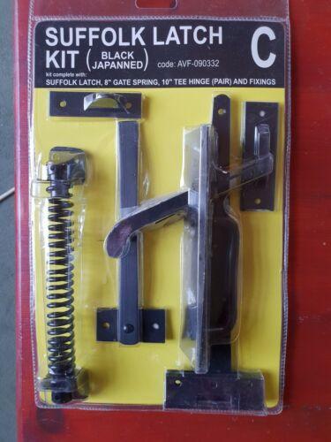 "Latch- 10/"" Tee Hinges Black Japanned Suffolk Latch Gate Kit 8/"" Gate Spring"