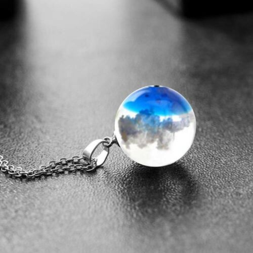 Resin Ball Blue Sky White Cloud Pendant Necklace Chain Christmas Accessory Gift