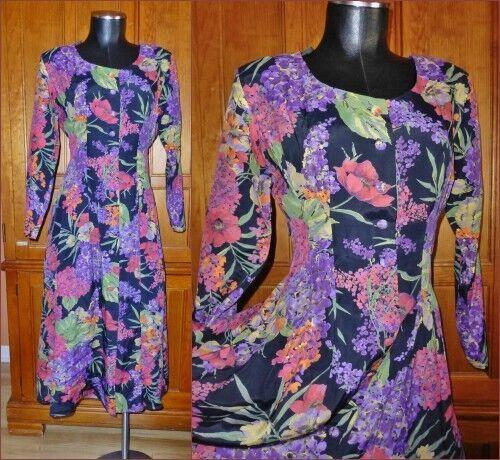 VTG 80s Floral Garden Print Rayon Garden Party BO