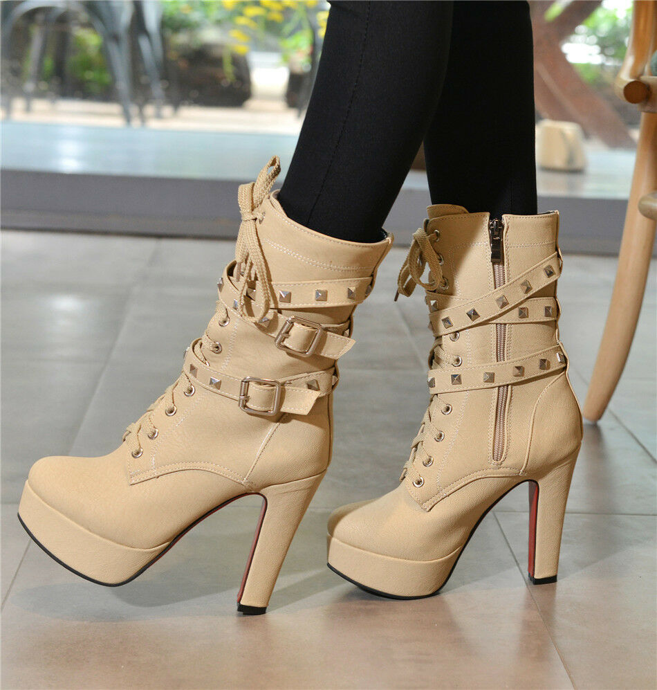 Sexy High Up Heels Platform Motorcycle Buckle Lace Up High Ankle Stiefel-4 Farbes 41540f
