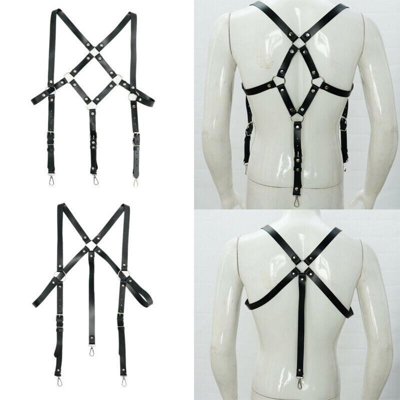 Leather Suspender Adjustable Metal Buckle Rivets O-rings Harness Shoulder Straps