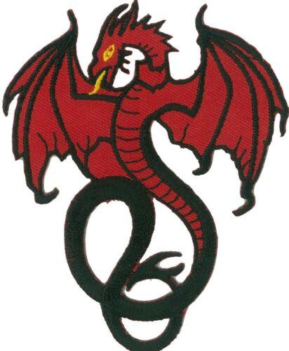 Ecusson patche Dragon rouge thermocollant applique patch