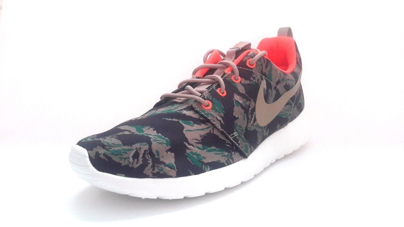 b456116347ae durable modeling NEW Men s Nike Rosherun Print Tiger Camo 655206 203 Olive  Bamboo Orange Roshe