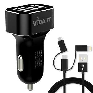 Caricatore Auto 3 Porte USB 5.2A e Cavo Micro USB per