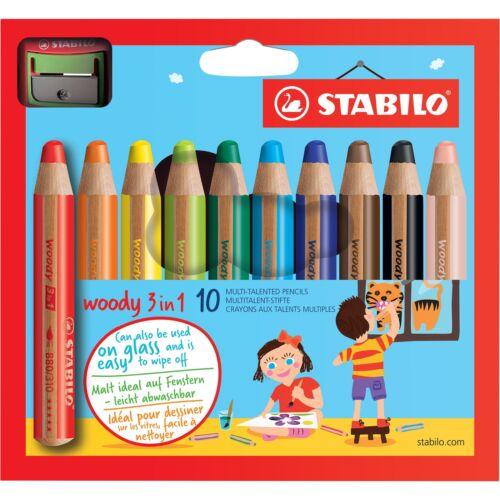 STABILO Farbstifte woody 10er mit Spitzer