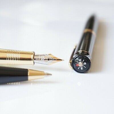 FINE Nib Gold Trim UK! Jinhao #001 Compass Matte Black Fountain Pen