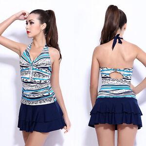 b74603d7d6 Image is loading Womens-Skirted-Swimsuit-Skirtini-Set-Pleated-Skirt-Swimwear -