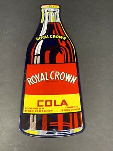 VINTAGE-ROYAL-CROWN-COLA-15-034-METAL-SODA-POP-ADVERTISING-DRINK-GAS-STATION-SIGN