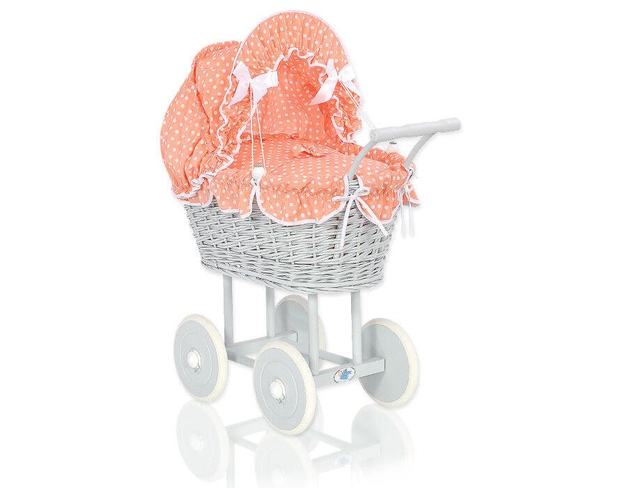 Korb Puppenwagen Elsa Farbe grau / Holzgestell / 25 Bezugfarben