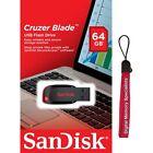 SanDisk 64GB 64G USB SD CZ50 Cruzer Blade USB 2.0 Pen Drive SDCZ50-064G + Lanyar