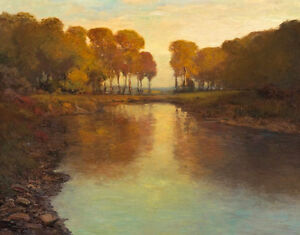 Dream-art Oil painting landscape A River among Autumn Trees no frame canvas art