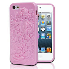 Pink 3D Rose Durable Sculpture TPU Case Cover For Apple iPhone 5S/5