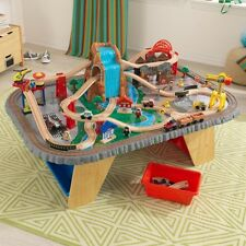 Kids Train Set & Table Wooden Waterfall Junction 112 Piece Storage Compatible