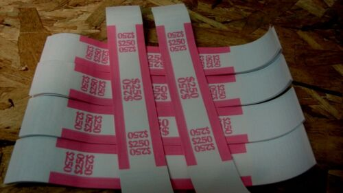 1000 PINK $250 SELF-SEALING CURRENCY STRAPS//BANDS