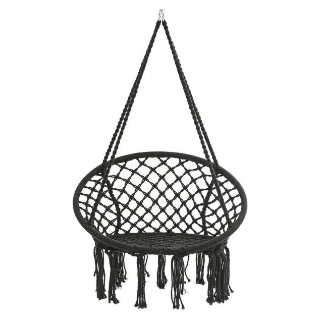 330lb Hanging Macrame Hammock Chair Round Rope Swing Seat Cotton Bedroom Yard
