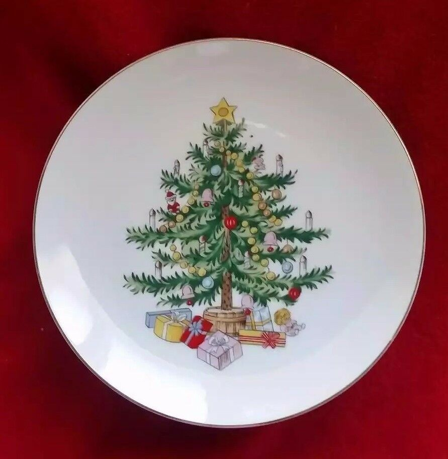 Lefton Christmas Tree Cake Plate Cookie Candy Pedestal Porcelain Holiday Dish