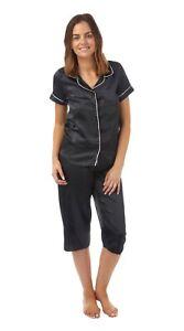85755e9e04 Image is loading Ladies-Glamorous-Silky-Satin-Pyjamas-Short-Sleeve-Top-