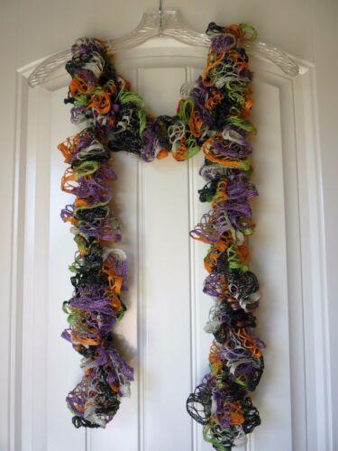 Handmade Crocheted Fashion Ruffle Scarf Trick-or-Treat Shimmer
