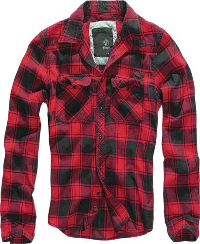 Brandit CHECK SHIRT ROSSO NERO boscaiolo Camicia A Quadri Flanella Camicia S 7xl