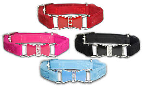 Cat-Collar-Girl-Boy-Diamante-Safety-Elastic-Bell-Bow-tie-Pink-Black-Red-Purple