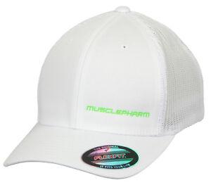 MusclePharm Hardcore Solid Flatbrim Hat Cap Performance Flexifit FREE POST SALE!