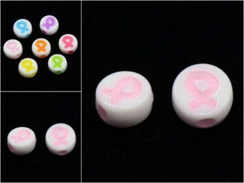 lady-muck1 Awareness Ribbon Flat Round Acrylic Beads Pink /& Multi-Mix 8mm
