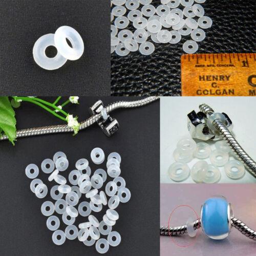 30pcs Caoutchouc Silicone Anneaux Bouchon pour Spacer Silver Charms Bracelet Chaîne Perles